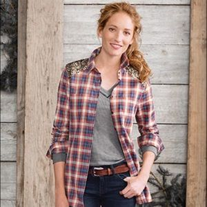 ORVIS Embellished Cotton Flannel Button Up Tunic